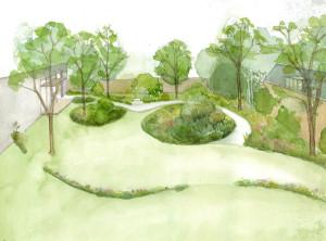 Vogelvlucht tuin Museum Rijswijk (ontwerp en tek. J. Oldenburger)