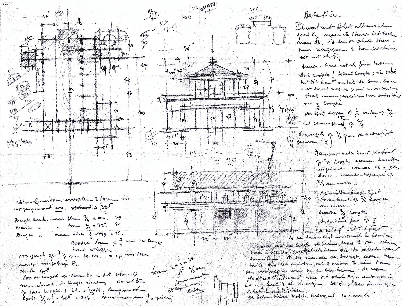 Brief van Dom H. van der Laan aan zijn broer Nico van der Laan over de maatverhoudingen van de St.-Martinuskerk te Gennep [1951/'52] (archief Hans van der Laan o.s.b., abdij St.-Benedictusberg te Vaals)