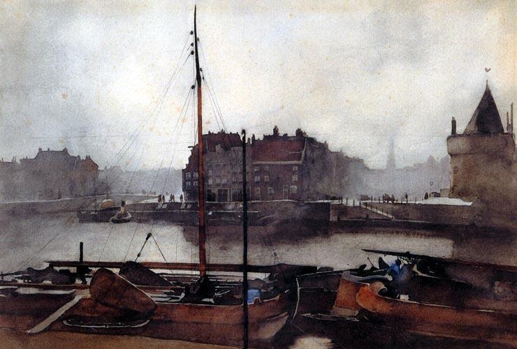 Willem Witsen, Prins Hendrikkade te Amsterdam, aquarel (1891) uit besproken publicatie