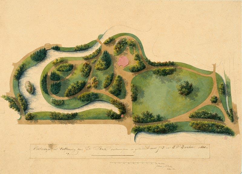 J.D. en L.P. Zocher, Ontwerp tot voltooiing van het Park te Rotterdam, 1861 (Coll. Bibl. Wageningen UR).