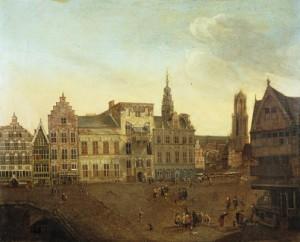 A. Honich, Stadhuisbrug te Utrecht, 1663 (Het Utrechts Archief). De luiken van de huizen Klein en Groot Lichtenberg zijn geschilderd in een rode ijzeroxidekleur.