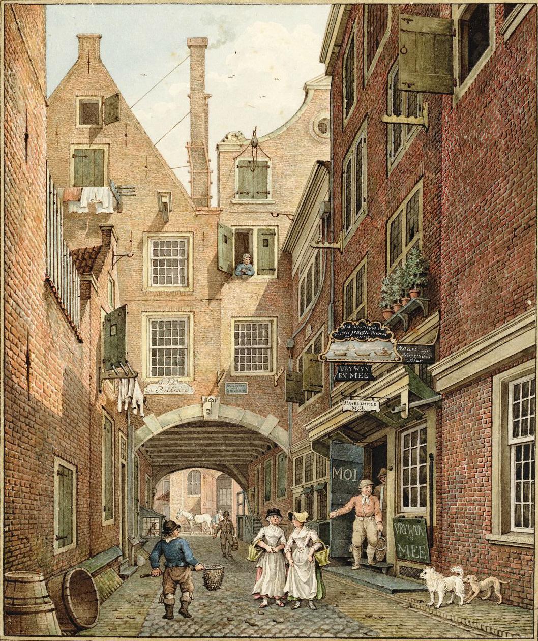 e luiken,'Bentheimer' kozijnen en witte roedenramen op een laat-achttiende-eeuwse ingekleurde tekening van H.P. Schouten, voorstellende de St-Pieterspoort te Amsterdam, gezien vanaf het Rokin naar de Nes. Rechts het veerhuis van de Watergraafsemeer (bij de deur, die aan de binnenzijde grijs is geschilderd), 1796 (SAA, coll. Atlas Splitgerber)