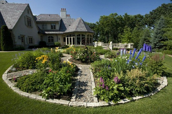 lawn-flower-beds-edging-design-ideas-stone-edge-circle-diy