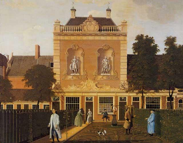 Het koetshuis van Keizersgracht 524, op een schilderij van Hendrik Keun, 1772, in het Rijksmuseum.