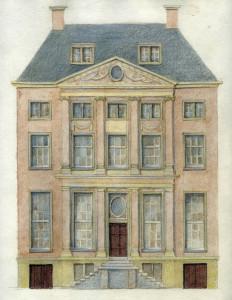 Kleurontwerp voor de Ladder Jacobs, OZ Voorburgwal 316 (tek. Juliet Oldenburger)