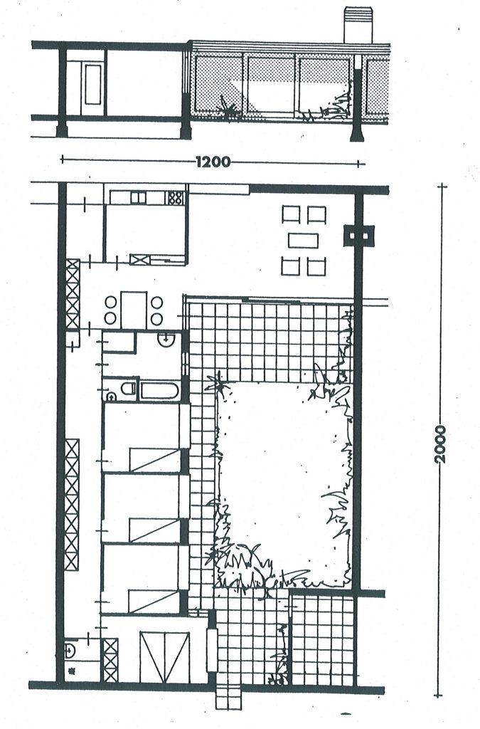 afb. 6 Plattegrond van de patiowoning van J.B. Bakema in de Eindhovense wijk 't Hool (archief broekbakema, Rotterdam)