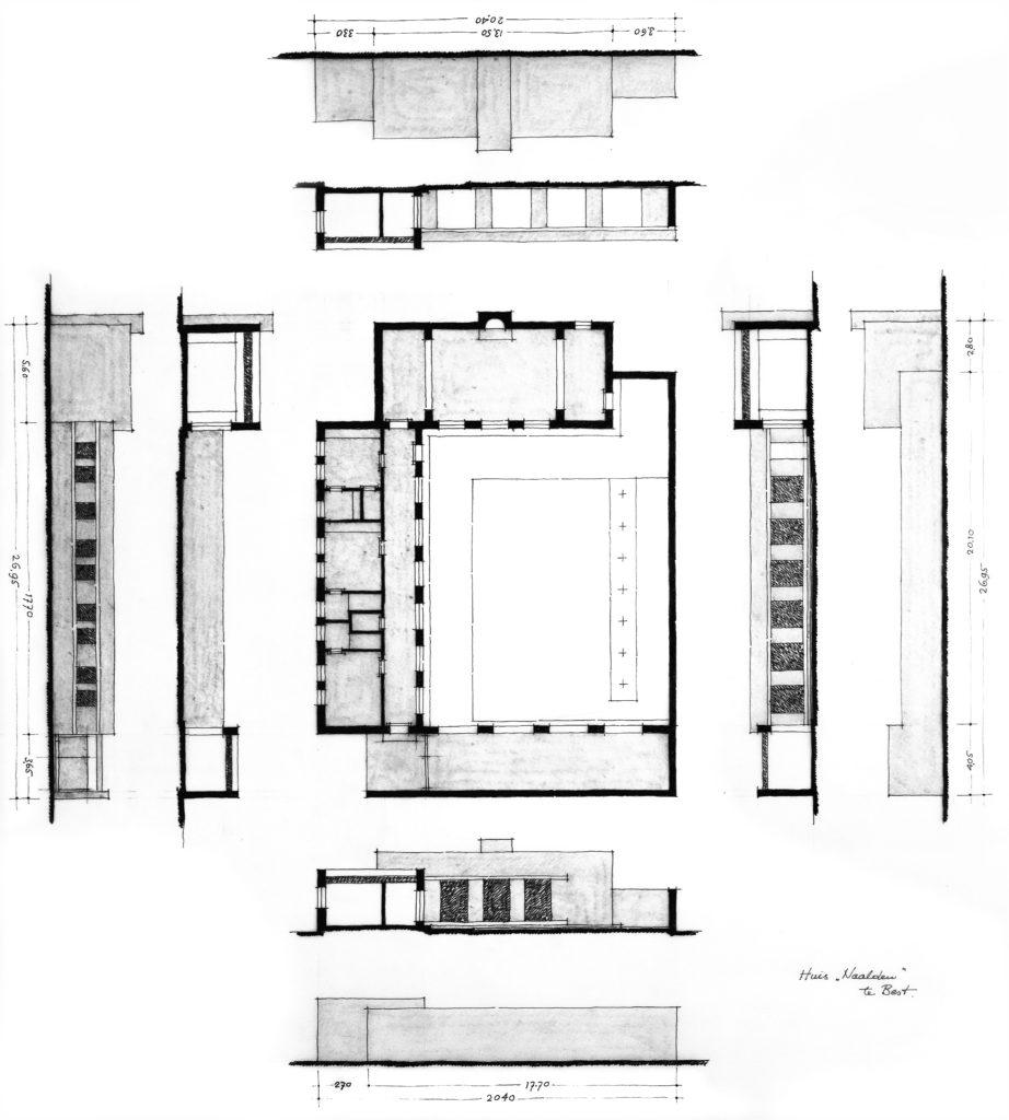 afb. 14 Analysetekening van de maquette die Dom Van der Laan in 1978 maakte voor Jos Naalden